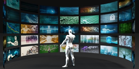 broadcasting: Man Looking into Video Wall Screens in 3d