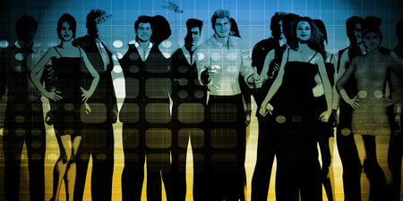 businessteam: Business Team Professionals with Group Illustration With Sky Stock Photo