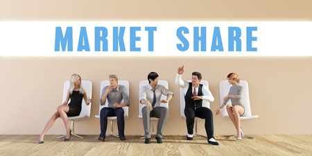 discussed: Business Market share Being Discussed in a Group Meeting Stock Photo