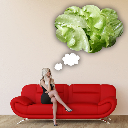 craving: Woman Craving Lettuce and Thinking About Eating Food