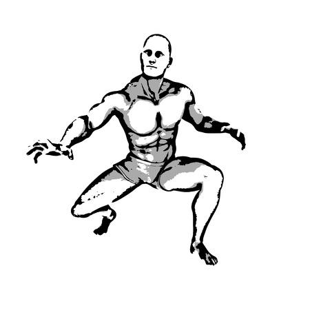 ink illustration: Comic Book Hero Pose in Sketch Ink Illustration