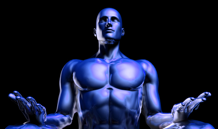 mind body soul: Man in Yoga Lotus Position Pose as Art