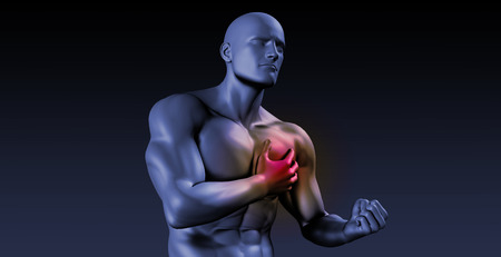 clenching: Chest Pains or Pain in Your Body Heart Area Stock Photo