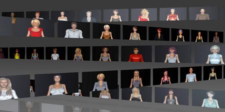 gente comunicandose: La gente de negocios se comunican entre s� en l�nea Foto de archivo