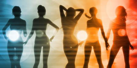 exotic woman: Beach Babes Sunset Silhouette Enjoying the Sun Stock Photo