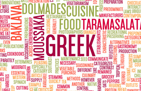 gastronomy: Greek Food and Cuisine Menu Background with Local Dishes