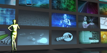 video wall: Media Telecommunications Concept with Video Wall Art Stock Photo