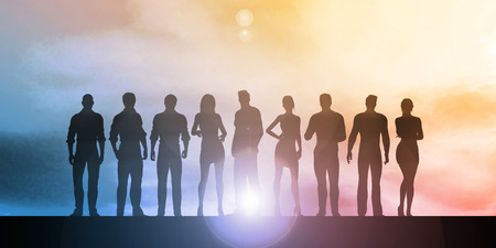 businessteam: Business Team Professionals with Silhouettes Illustration With Sky