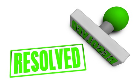 resolved: Resolved Stamp or Chop on Paper Concept in 3d Stock Photo