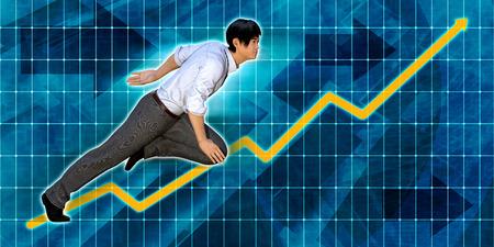 asian businessman: Asian Businessman Running with Chart Graph Background Art
