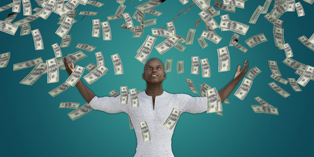 Black Man Catching Money Falling From the Sky in US Dollars