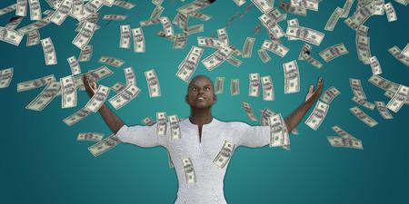 raining: El hombre negro Dinero de cogida que caen del cielo en dólares estadounidenses