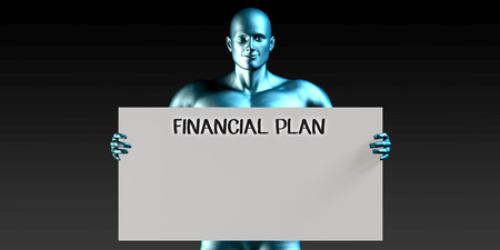 financial plan: Financial Plan with a Man Carrying Reminder Sign