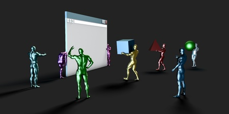 web application: Web Development and Creating Online Application Through a Team Stock Photo