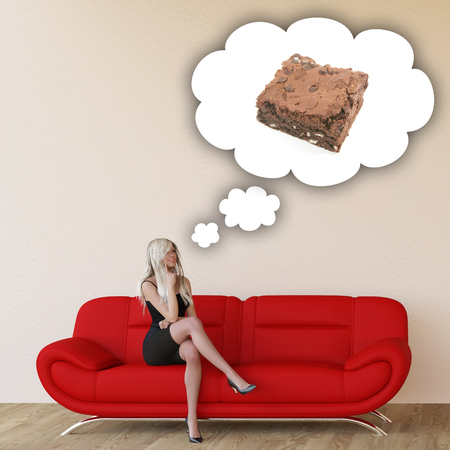 sit: Woman Craving Brownie and Thinking About Eating Food