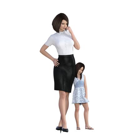 madre trabajando: Hija de la madre de Interacción Muchacha que abraza la mamá como una ilustración del concepto