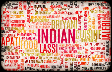 gastronomy: Indian Food and Cuisine Menu Background with Local Dishes