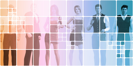personas comunicandose: La gente de negocios se comunican entre sí en línea Foto de archivo