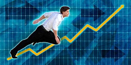 Caucasian Businessman Running with Chart Graph Background Art