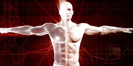 medicina: Atlético acondicionado y Desarrollo del cuerpo como concepto Foto de archivo