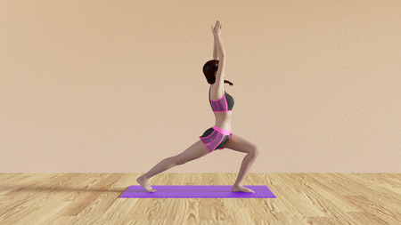 yoga class: Yoga Class Warrior Salute Pose Illustration with Female Instructor