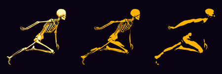 see a doctor: Transparent Human with Bone Structure in Movement Stock Photo