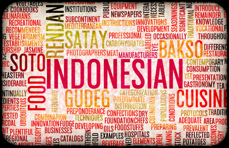 gastronomy: Indonesian Marketing Food and Cuisine Menu Background with Local Dishes
