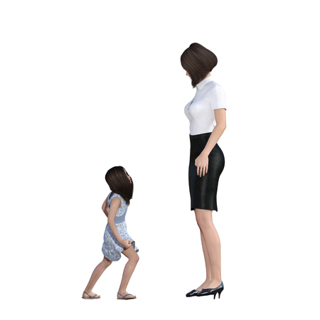 mother daughter: Mother Daughter Interaction of Rebellious Child as an Illustration Concept