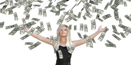 Woman Catching Money Falling From the Sky in US Dollars