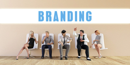 discussed: Business Branding Being Discussed in a Group Meeting Stock Photo