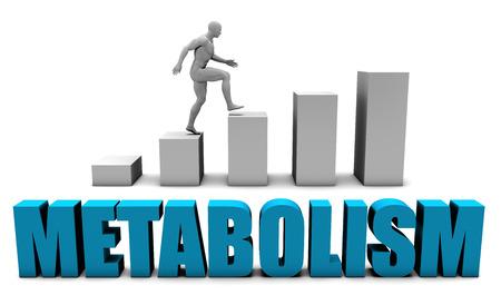 Metabolism 3D Concept  in Blue with Bar Chart Graph Foto de archivo