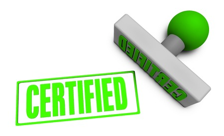 certified stamp: Certified Stamp or Chop on Paper Concept in 3d Stock Photo