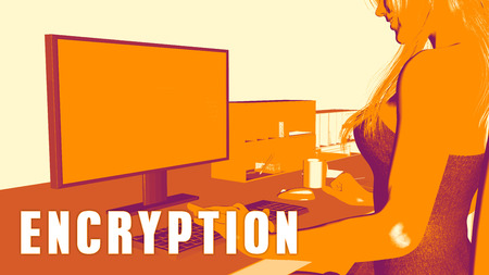 looking at computer: Encryption Concept Course with Woman Looking at Computer