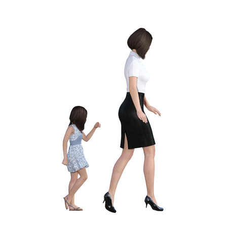 following: Mother Daughter Interaction of Girl Following Mom as an Illustration Concept