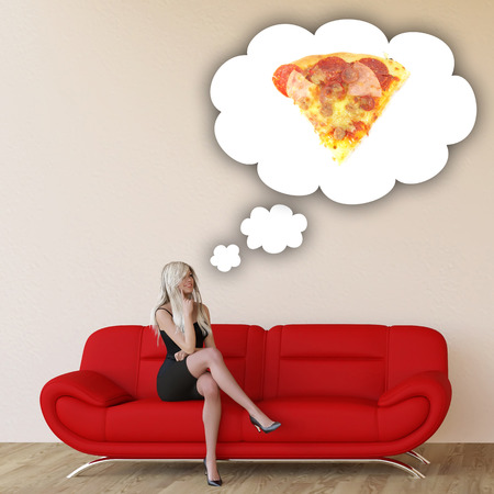 craving: Woman Craving Pizza and Thinking About Eating Food Stock Photo