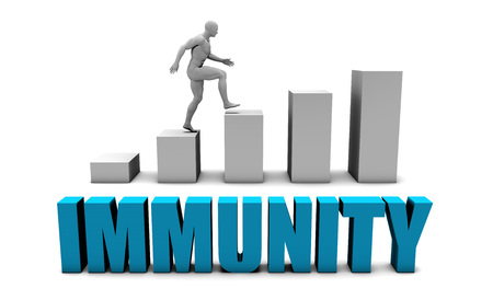 inmunidad: Concepto 3D inmunidad en azul con la carta de barra del gráfico Foto de archivo