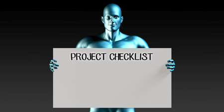 man carrying: Project Checklist with a Man Carrying Reminder Sign Stock Photo