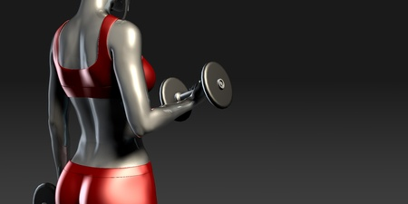 hardened: Metal Steel Woman Lifting Weights as a Fitness Concept