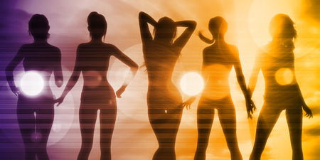 sundown: Ladies at the Beach with Silhouette as a Background