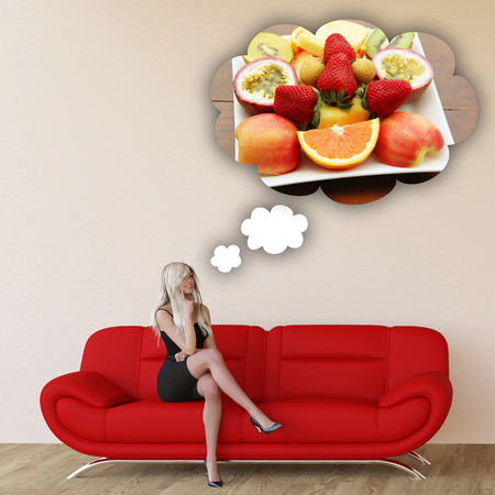 cravings: Woman Craving Fruits and Thinking About Eating Food