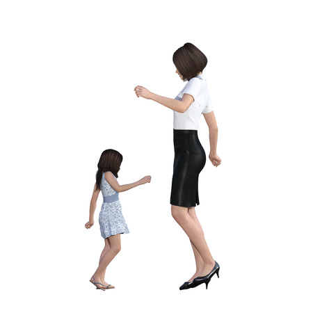mother daughter: Mother Daughter Interaction of Dancing Together as an Illustration Concept