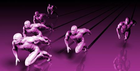 succeeding: Business Success Concept with Running Men Art