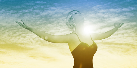 arms out: Enlightenment with Woman Holding Arms Out Happily