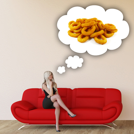 craving: Woman Craving Onion Rings and Thinking About Eating Food