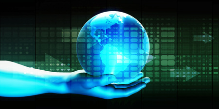 international business: Man Holding Globe with Technology Abstract Background Stock Photo