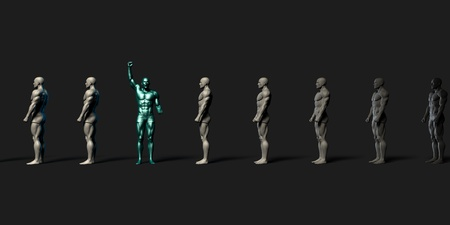 motivated: Motivated Employee Standing Out From the Crowd
