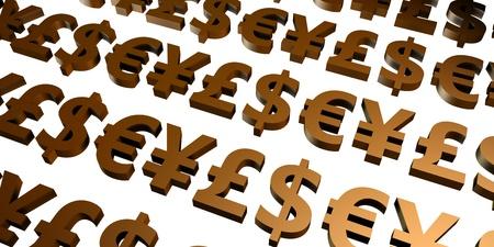 3d art: Global Currencies and Money Symbols in 3d Art