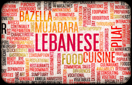 lebanese food: Lebanese Food and Cuisine Menu Background with Local Dishes Stock Photo
