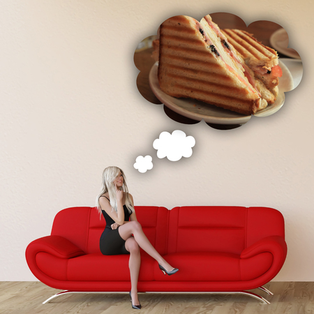 unhealthy thoughts: Woman Craving Grilled Sandwich and Thinking About Eating Food Stock Photo