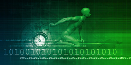adapting: Technology Evolution with Man Evolving with System Stock Photo